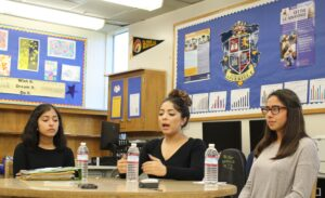 Overfelt High School students (from left to right) Maria Vargas, Jazmine Martinez and Esmerelda Corona share their experiences of taking the Smarter Balanced practice test