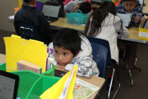 Bay Shore Elementary 3rd grader Elijah Ramirez reads instructions on the practice test